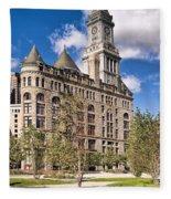 The Customs House Clock Tower Fleece Blanket