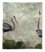 The Dance Of Life - Great Blue Herons In Mating Ritual - Digital Painting Fleece Blanket