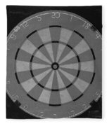 The Dart Board In Black And White Fleece Blanket
