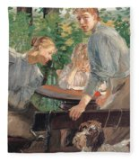 The Daughters Of The Artist In The Garden Fleece Blanket