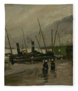 The De Ruijterkade In Amsterdam Amsterdam, October 1885 Vincent Van Gogh 1853  1890 Fleece Blanket