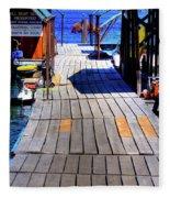 The Dock At Hill's Resort Fleece Blanket