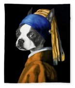 The Dog With A Pearl Earring Fleece Blanket