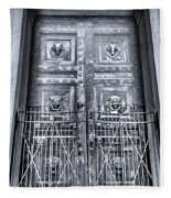 The Door At The Parthenon In Nashville Tennessee Black And White Fleece Blanket