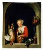 The Dutch Housewife Or The Woman Hanging A Cockerel In The Window 1650 Fleece Blanket