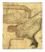 The Eagle Map Of The United States  Fleece Blanket