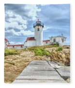 The Eastern Point Lighthouse In Gloucester Fleece Blanket