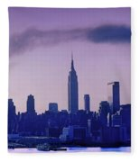 The Empire State Building In New York At 6 A. M. In January Fleece Blanket