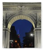 The Empire State Building Through The Washington Square Arch Fleece Blanket