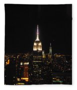 The Empire States At Night Fleece Blanket