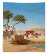 The Empress Eugenie Visiting The Pyramids Fleece Blanket
