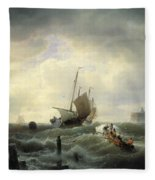 The Entrance To The Harbour At Hellevoetsluys Fleece Blanket