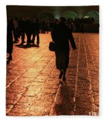 The Entrance To The Western Wall At Night Fleece Blanket