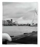 The Erasmus Bridge In Rotterdam Bw Fleece Blanket