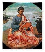 The Evangelist John At Patmos Fleece Blanket