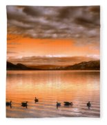 The Evening Geese Fleece Blanket