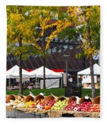 The Fall Harvest Is In Kendall Square Farmers Market Foliage Fleece Blanket