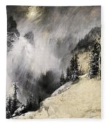 The Falling Flakes Mountain Scene. Yosemite A Mountain Snowfall Fleece Blanket