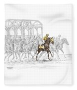 The Favorite - Thoroughbred Race Print Color Tinted Fleece Blanket
