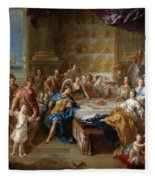 The Feast Of Dido And Aeneas. An Allegorical Portrait Of The Family Of The Duc And Duchesse Du Maine Fleece Blanket