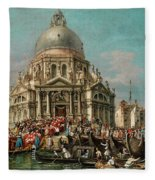 The Feast Of The Madonna Della Salute In Venice Fleece Blanket