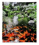 The Fish Pond At Thailand Fleece Blanket