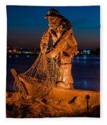 The Fisherman After Nightfall Fleece Blanket