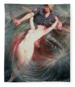 The Fisherman And The Siren Fleece Blanket