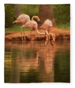 The Flock - The Serenity Of Flamingos At Water's Edge Fleece Blanket