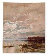 The Flood In The Darling 1890 Fleece Blanket
