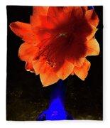 The Flower Of Cactus In A Blue Vase. Fleece Blanket