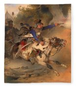 The Foraging Hussar 1840 Fleece Blanket