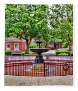 The Fountain At Radford University Fleece Blanket