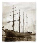 The Four-masted Barkentine  Jane Stanford Built By Hans Bendixse 1892 Fleece Blanket