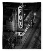 The Fox Thearter Bw Atlanta Night Art Fleece Blanket