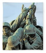 The Front Up Close -- The Iwo Jima Monument Fleece Blanket