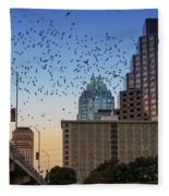 The Frost Bank Tower Stands Guard As 1.5 Million Mexican Free-tail Bats Overtake The Austin Skyline As They Exit The Congress Avenue Bridge Fleece Blanket