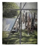 The Fur Trader's Camp 1812 Fleece Blanket