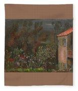 The Garden Boris Grigoriev Fleece Blanket