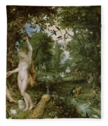 The Garden Of Eden With The Fall Of Man Fleece Blanket