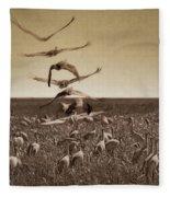 The Gathering - Sandhill Cranes Fleece Blanket