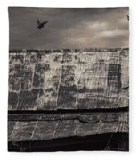 The Gathering - Vultures Above An Old Barn Fleece Blanket