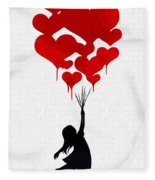 The Girl With The Red Balloons Fleece Blanket