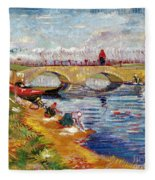 The Gleize Bridge Over The Vigneyret Canal  Fleece Blanket