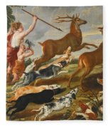 The Goddess Diana And Her Nymphs Hunting Deer Fleece Blanket
