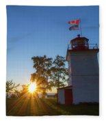 The Goderich Lighthouse At Sunset Fleece Blanket
