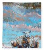 The Golden Flock - Colorful Sheep Art Fleece Blanket