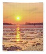 The Golden Hour And Ice Drift Fleece Blanket