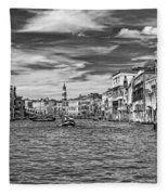 The Grand Canal Bw Fleece Blanket