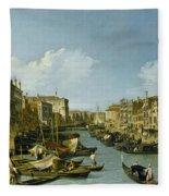 The Grand Canal Near The Rialto Bridge. Venice Fleece Blanket